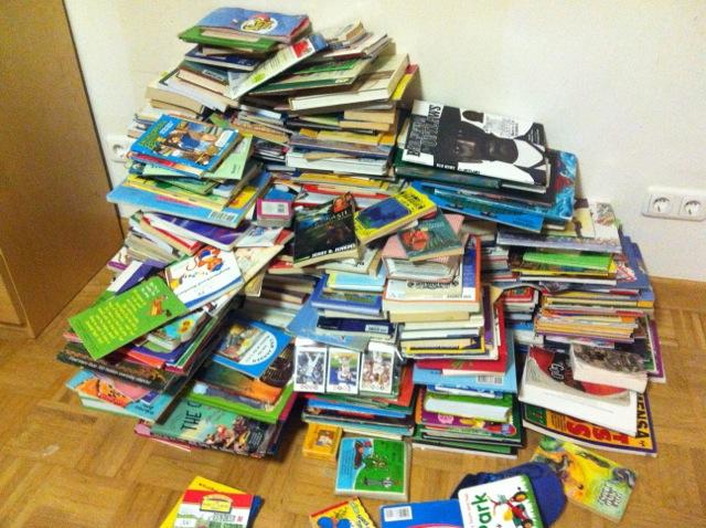 Books minus the bookshelf that was so cheap it didn't survive.