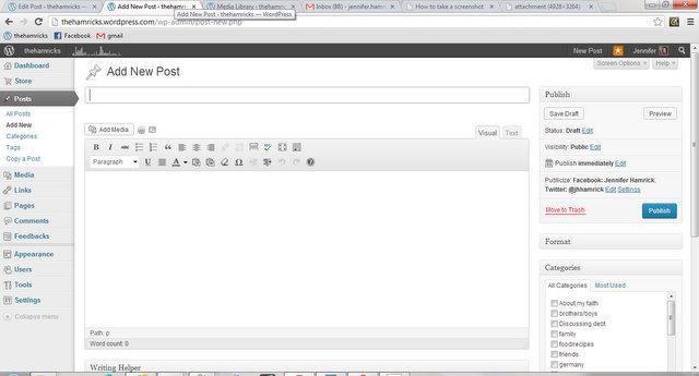Add New Post ‹ thehamricks — WordPress - Google Chrome 12152012 71942 AM